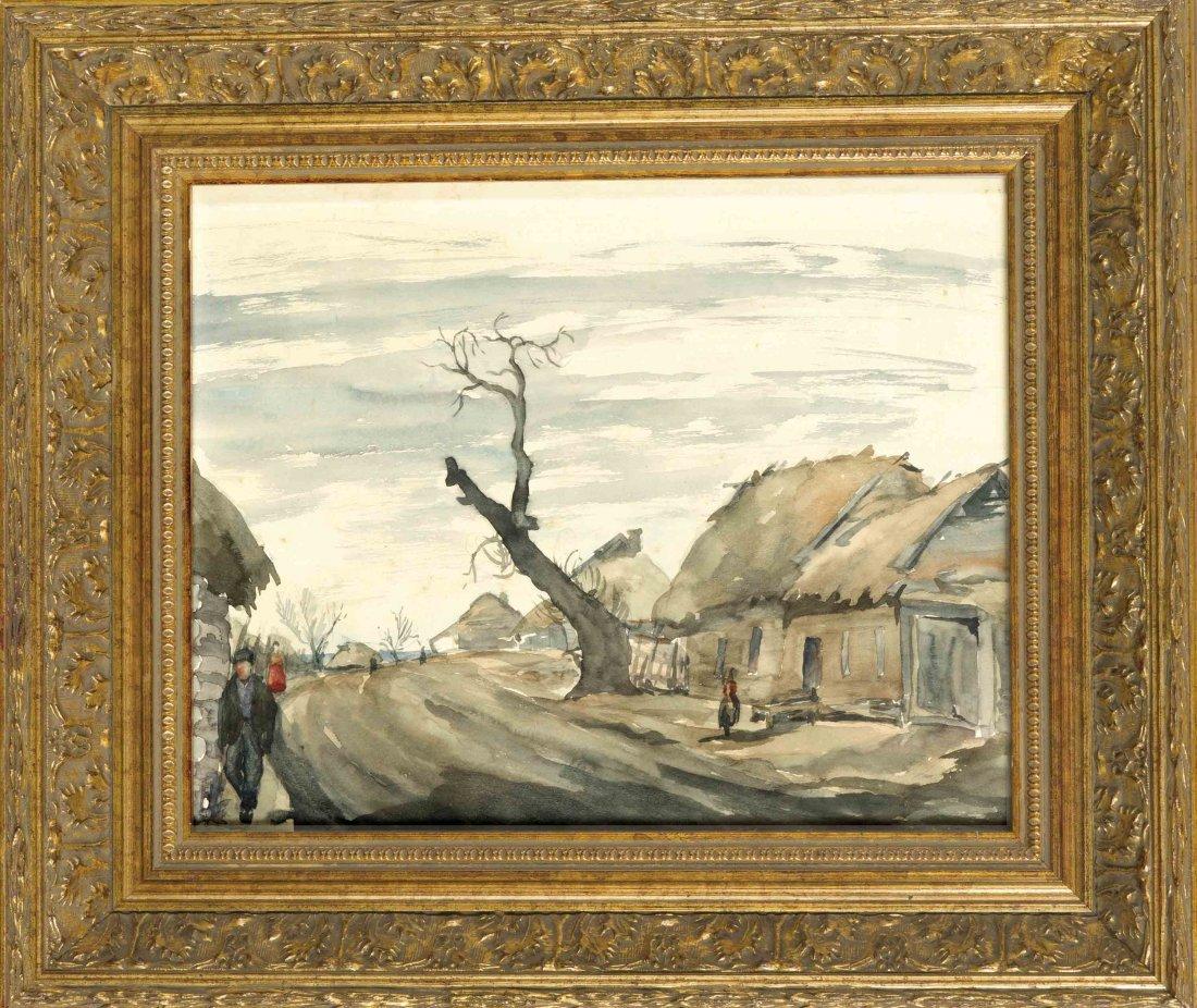 Deutscher Aquarellist der 1930er Jahre, Dorfstrasse in