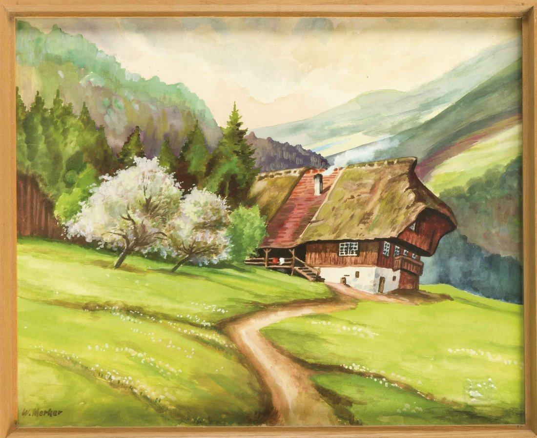 Merker, W., süddt. Landschaftsmaler, Frühling in den