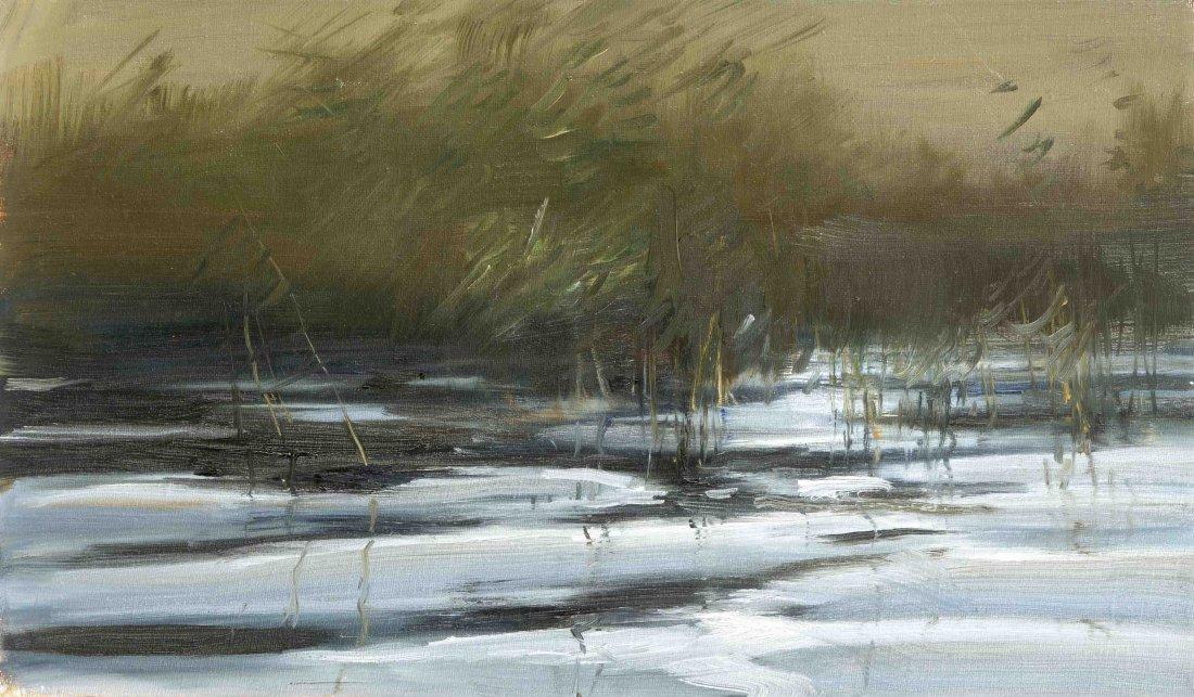 Anonymer Maler, 2. Hälfte 20. Jh., Flusskante, Öl/Lwd.,