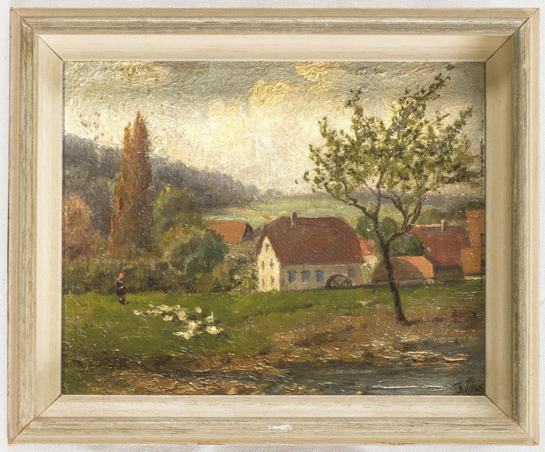 Anonymer Maler, um 1930, Lanschaft mit Wassermühle und