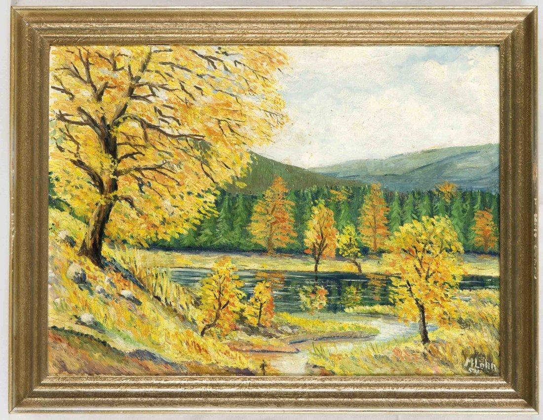 Sign. Lohn, M., Landschaft mit Fluss im Herbst,