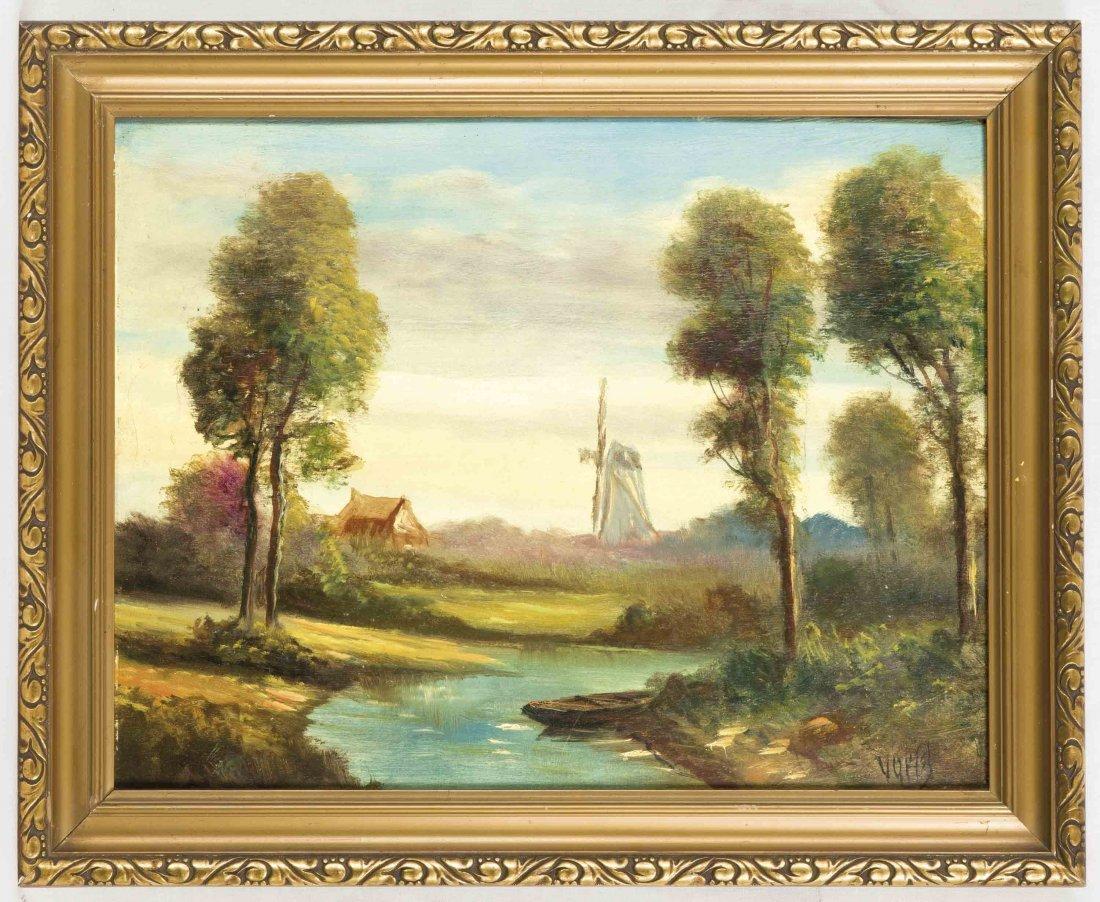 Anonymer Maler, um 1930, Holländische Landschaft mit