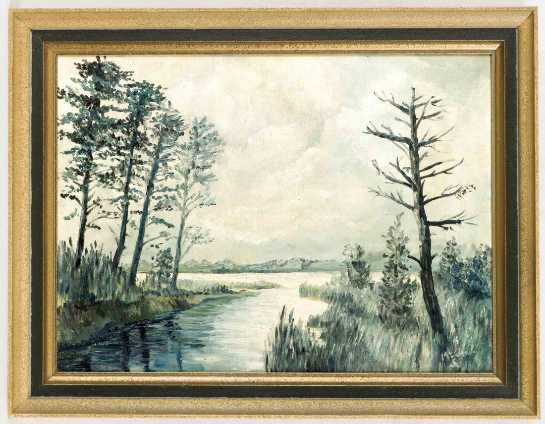 Anonymer Maler, um 1956, Flusslandschaft, undeutl.