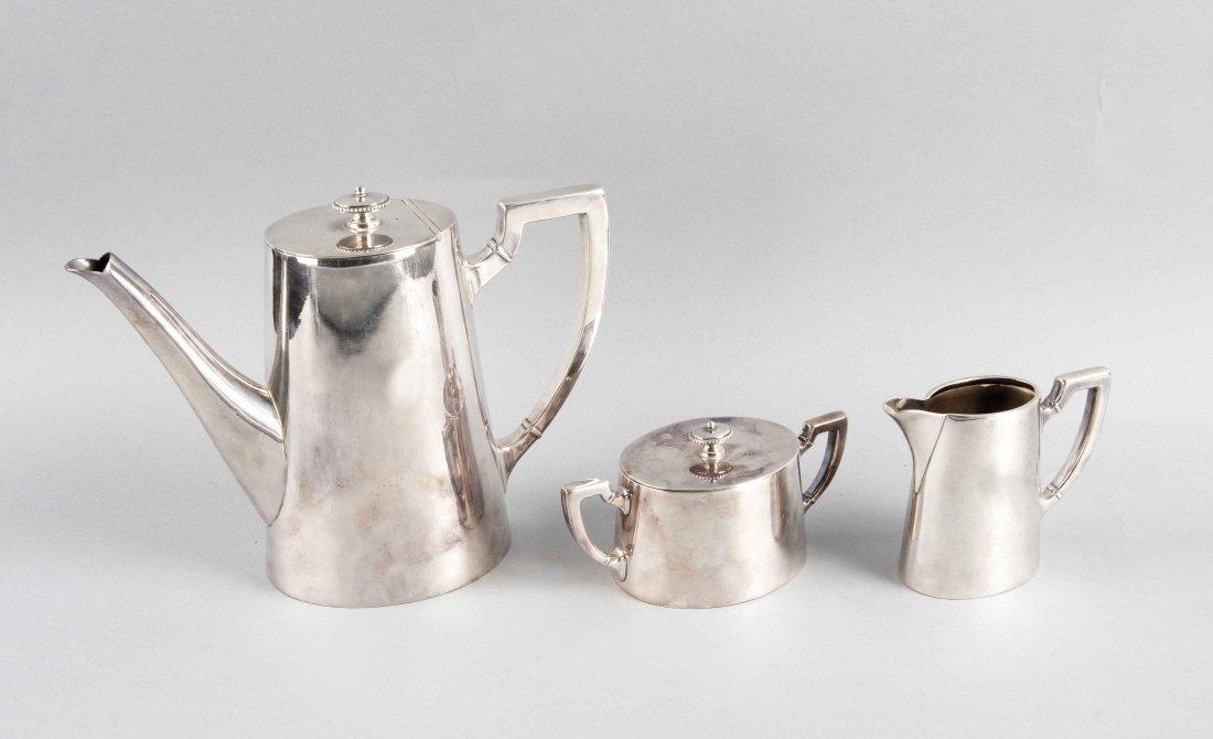 Art-Decó Kaffeekern, 3-teilig, um 1930, Metall plated,