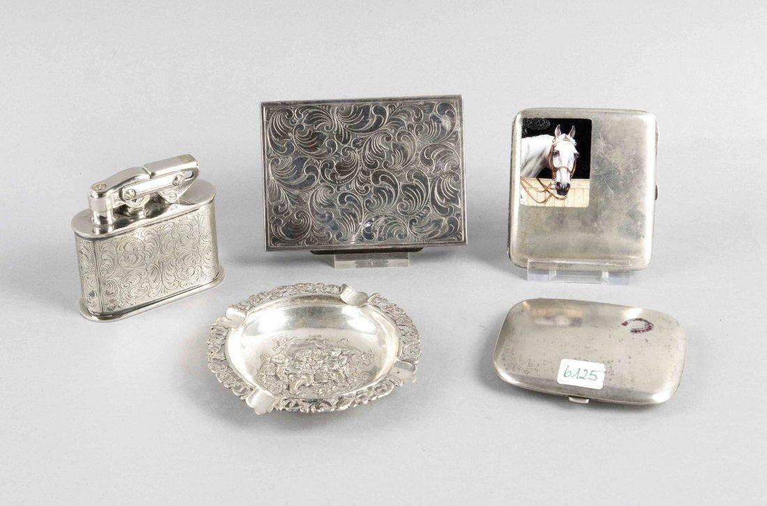 Rauchutensilien, 5-teilig, verschiedene Silbergehalte
