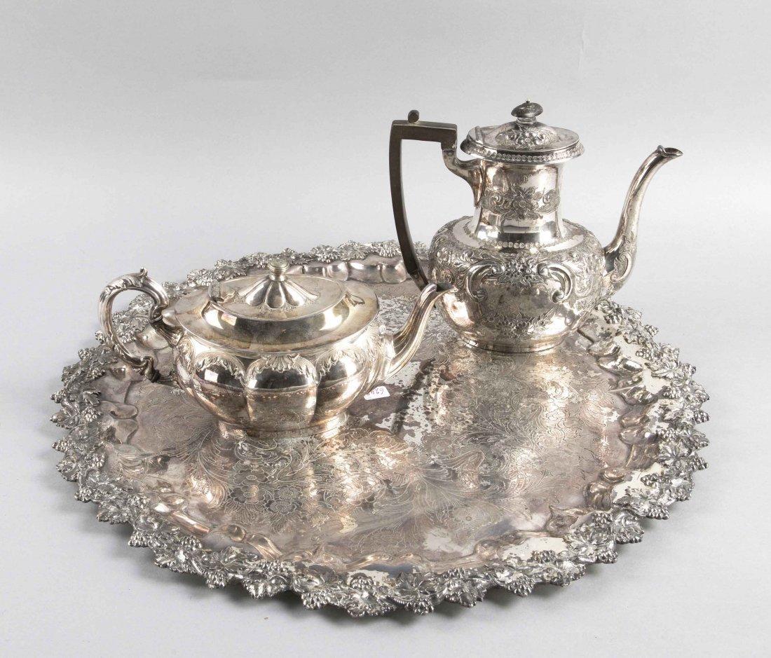 Teekanne, Kaffeekanne, großes Tablett, plated, England