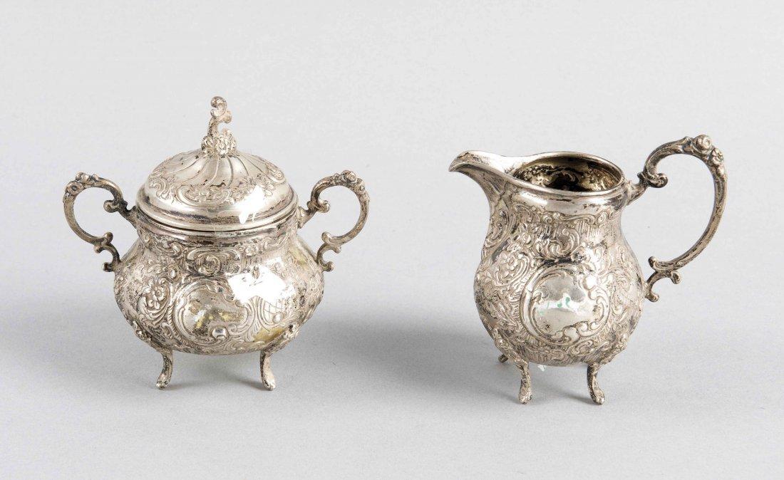 Sahne/Zuckerset, 20. Jh., Silber 800/000, reliefierte