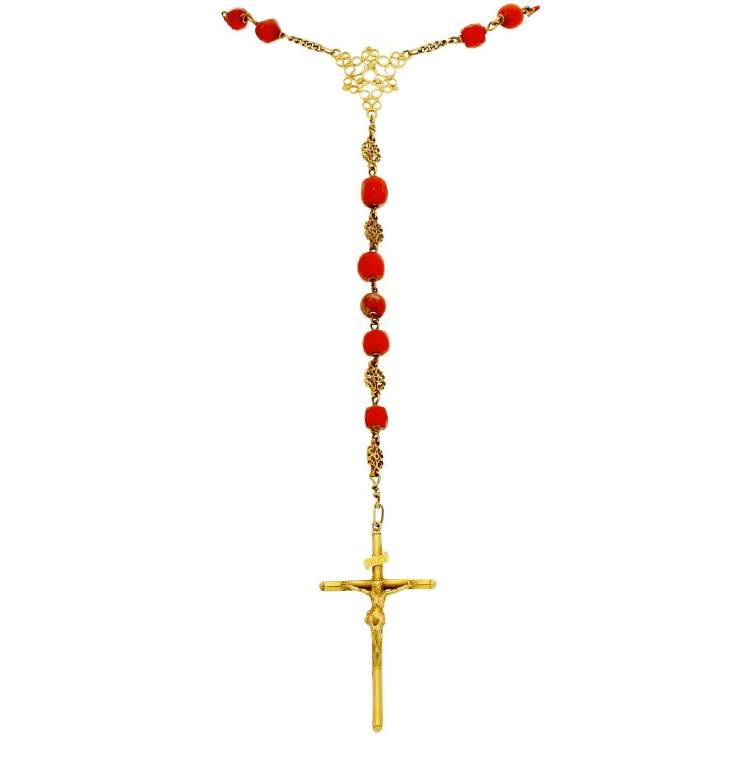 Gold and coral rosary, 19th Century Gold and carved