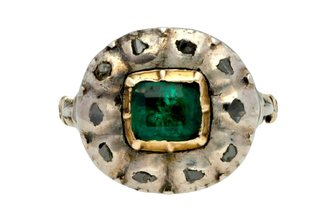 Emerald and diamonds ring, 19th Century Gold with