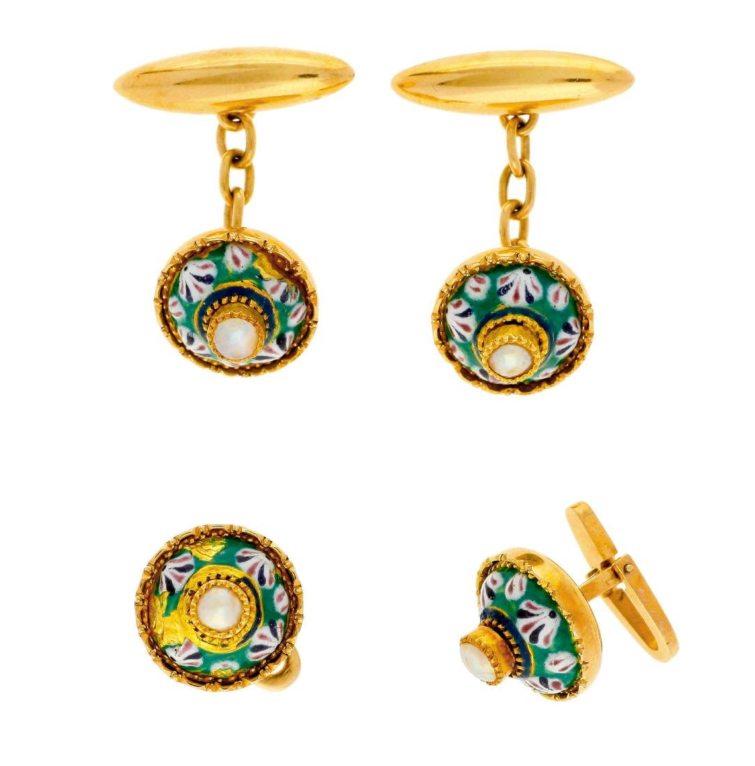 Gold and enamel buttons set from Majorca, probably from