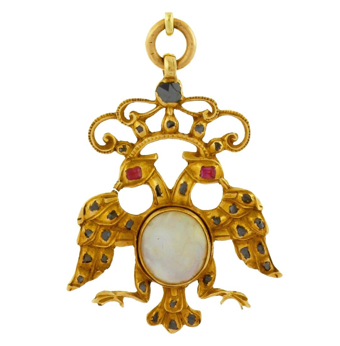 Pendant with a two-headed eagle, 18th Century Gold,