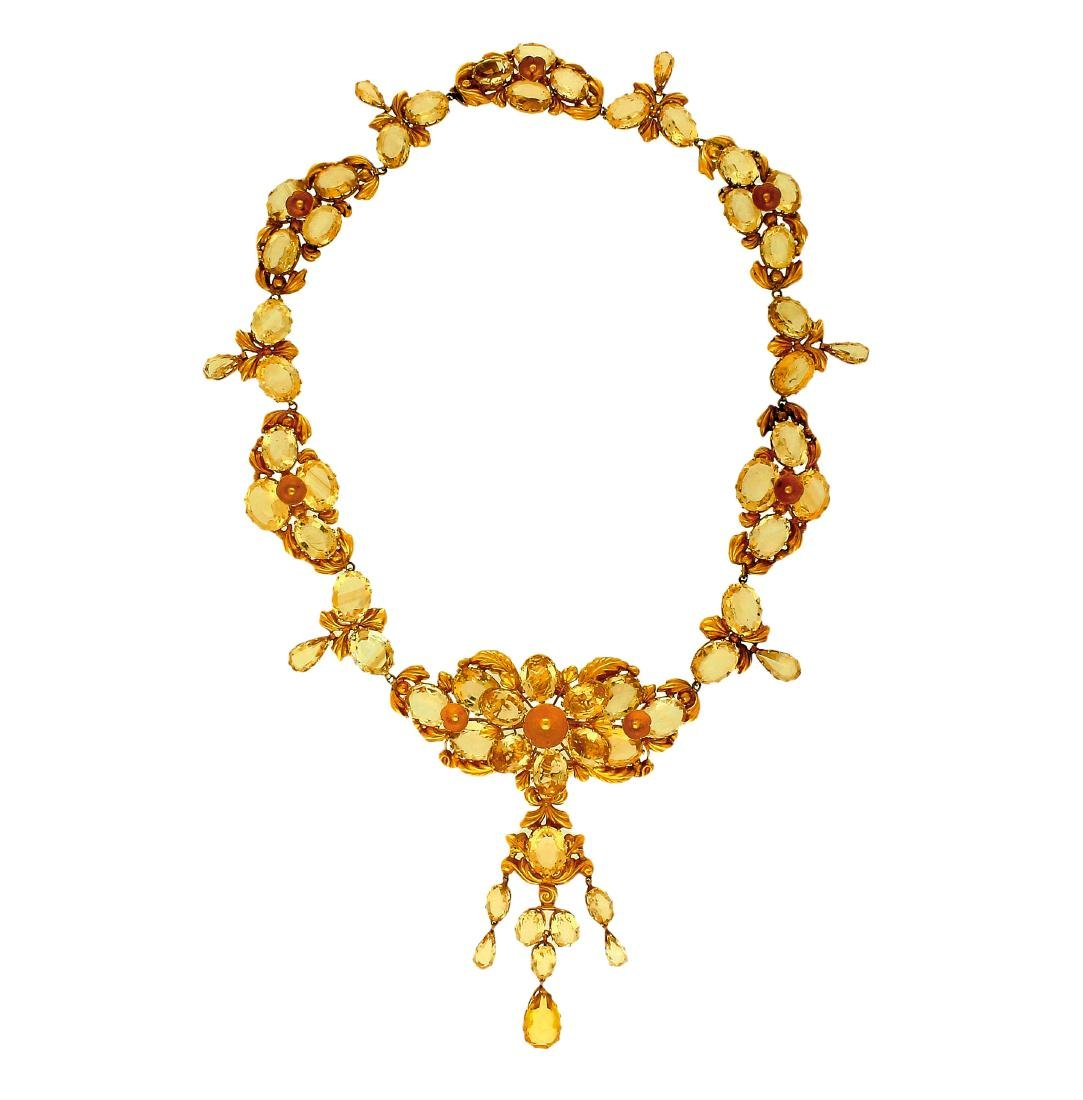 Gold and citirnes jewellery set, circa 1830 Consisting