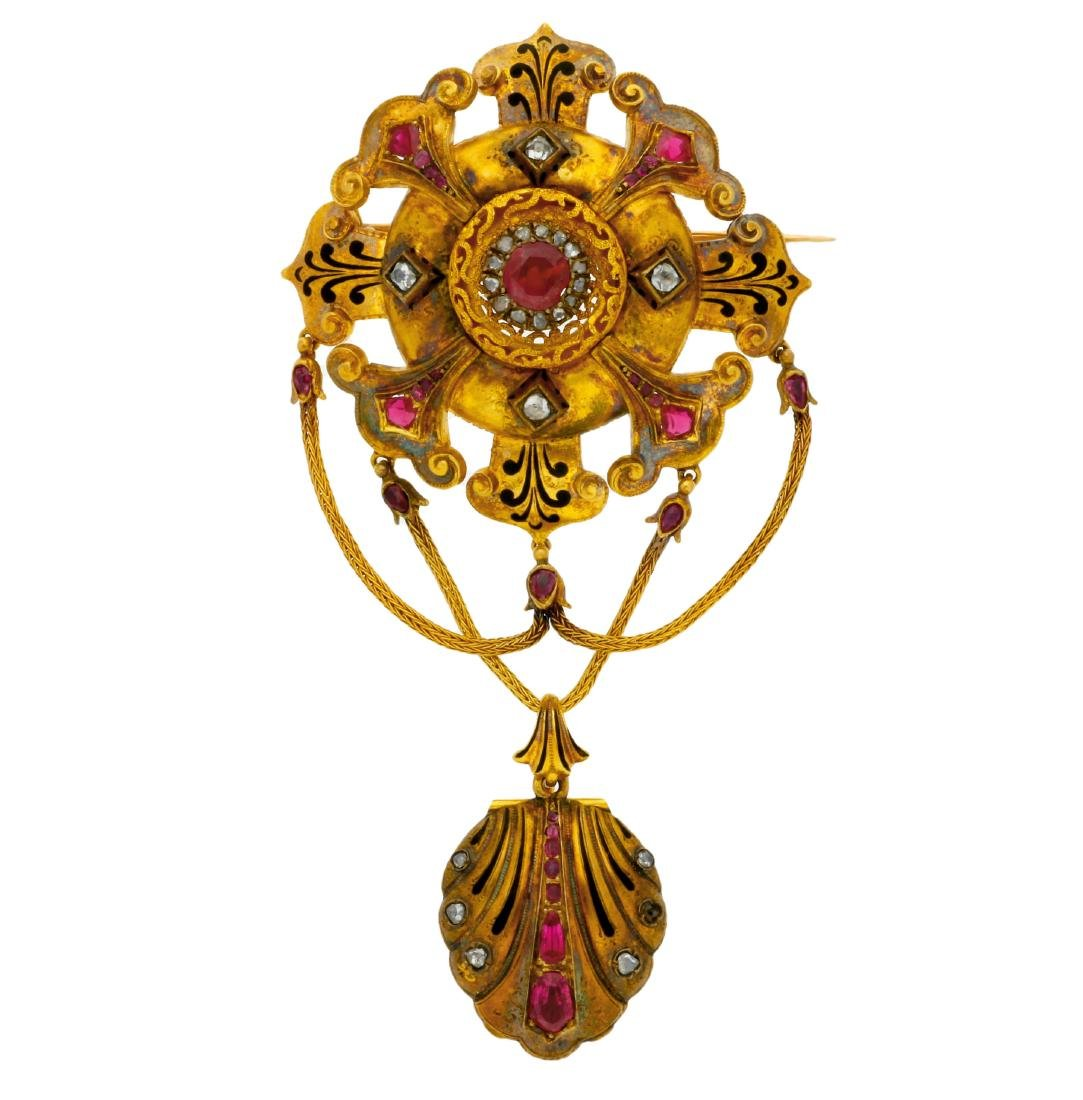 French rubies and diamonds brooch, 19th Century  Gold,