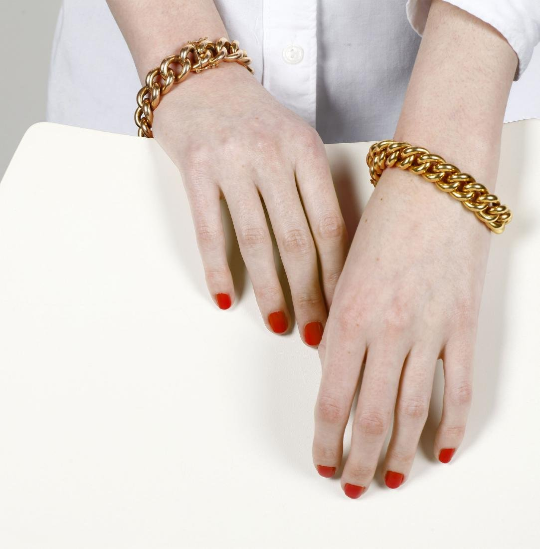 Two French bracelets in gold and rose gold, early 20th - 4