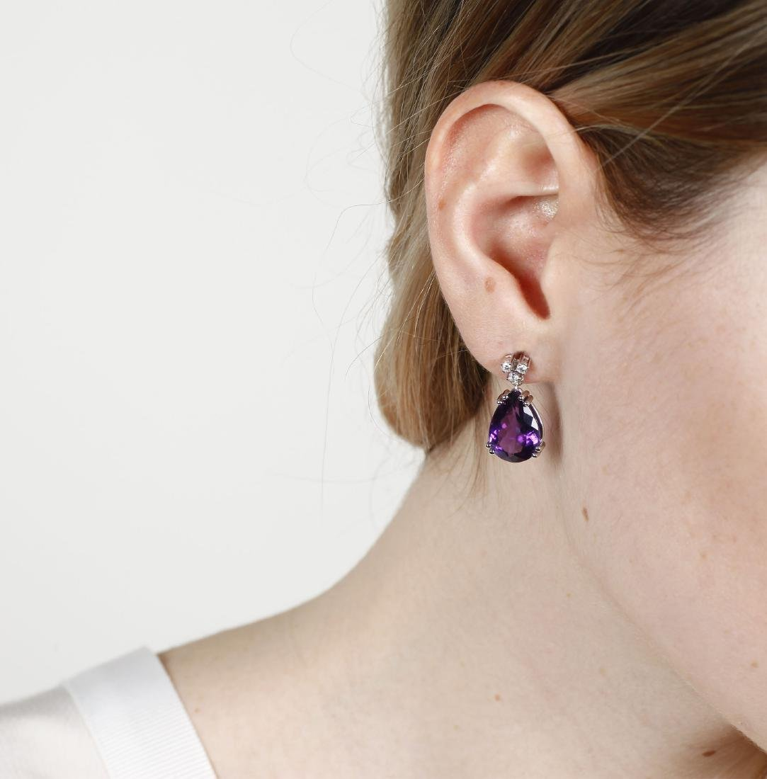 Amethysts pendant earrings White gold, brilliant cut - 2