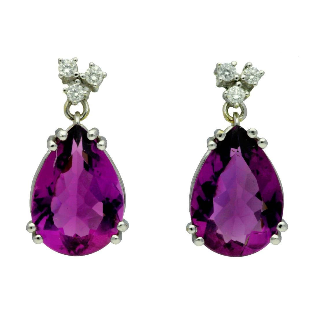 Amethysts pendant earrings White gold, brilliant cut