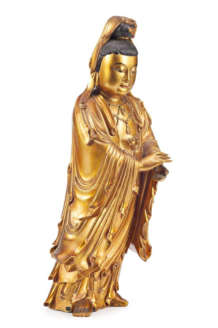 Chinese school, 19th Century Guanyin Lacquered and gilt