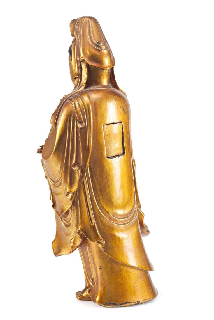Chinese school, 19th Century Guanyin Lacquered and gilt - 2