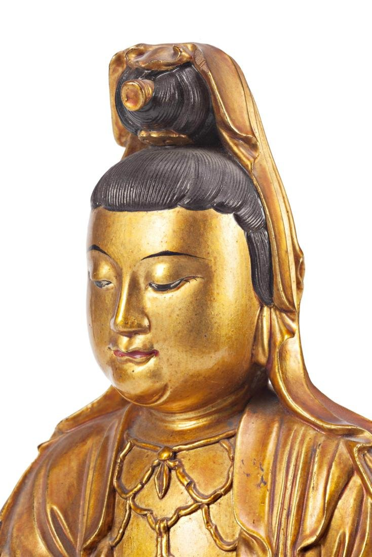 Chinese school, 19th Century Guanyin Lacquered and gilt - 4