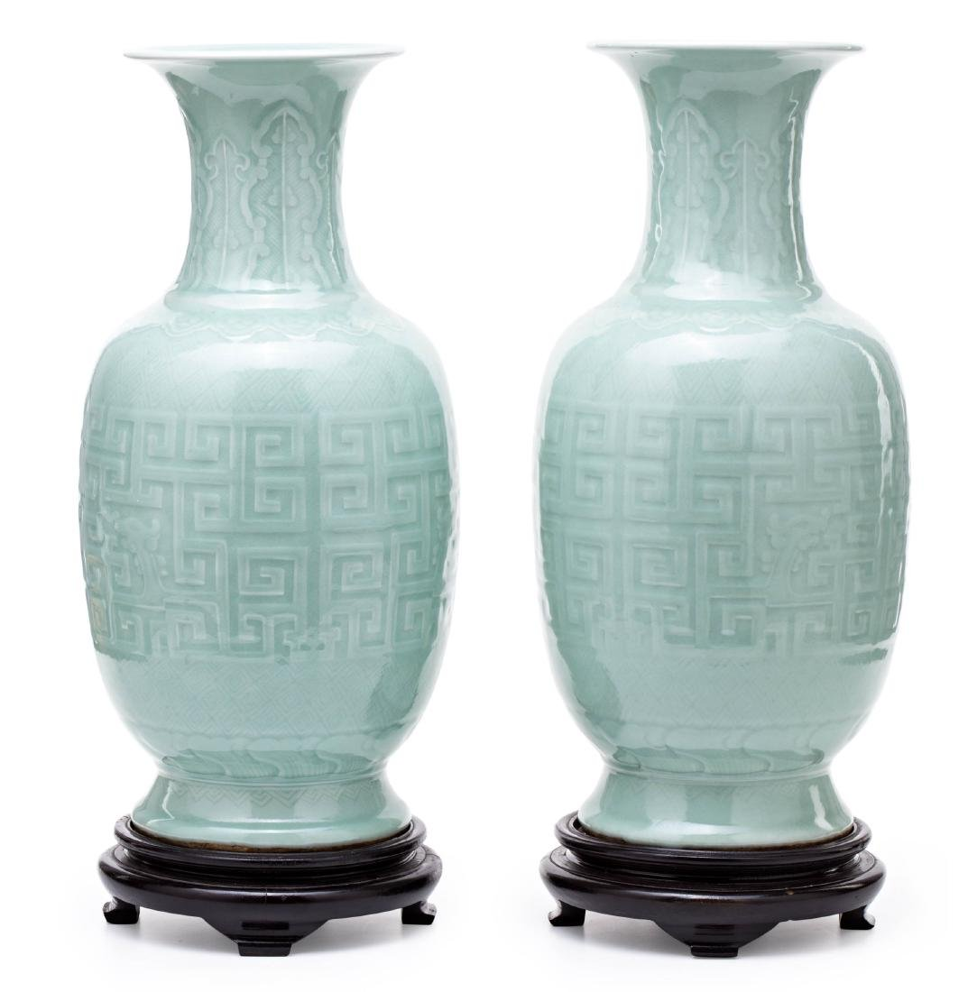 Pair of Chinese Qing dinasty vases, in engraved and