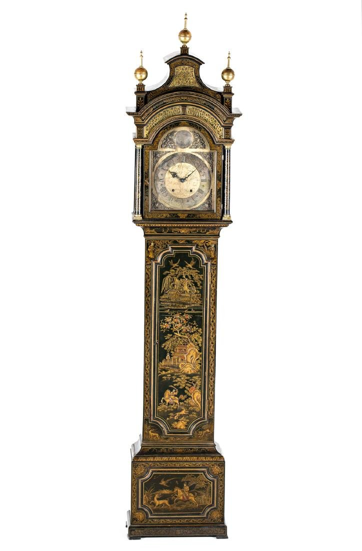 English grandfather clock in lacquered wood with