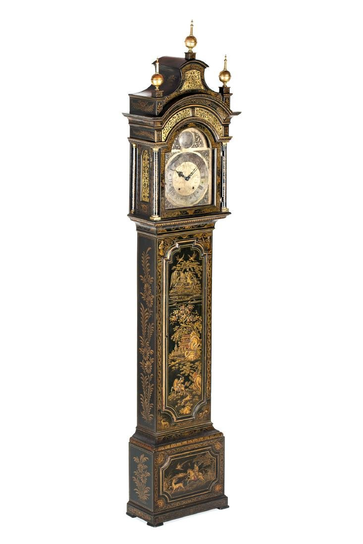 English grandfather clock in lacquered wood with - 2