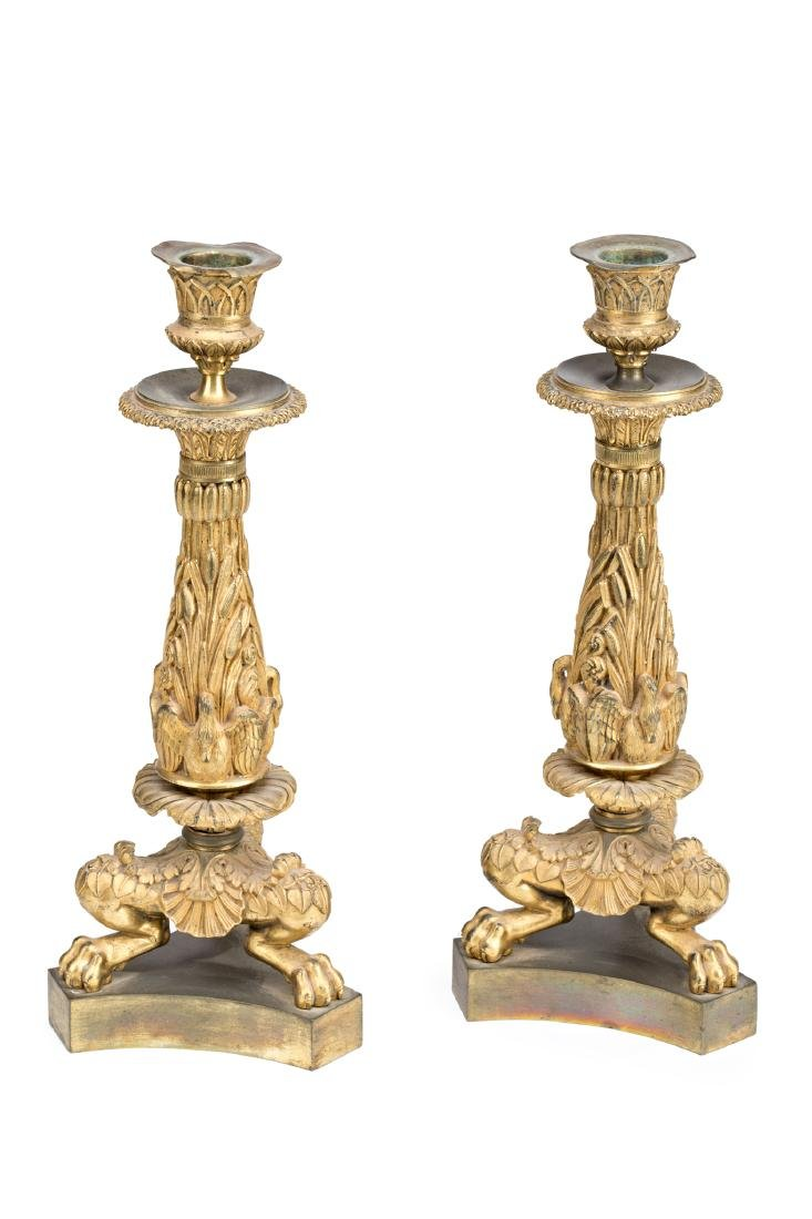 Pair of Charles X gilt bronze candlesticks, circa