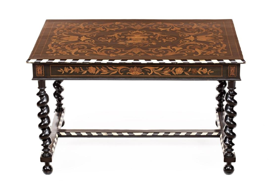 Dutch style centre table in ebony wood with fine wood