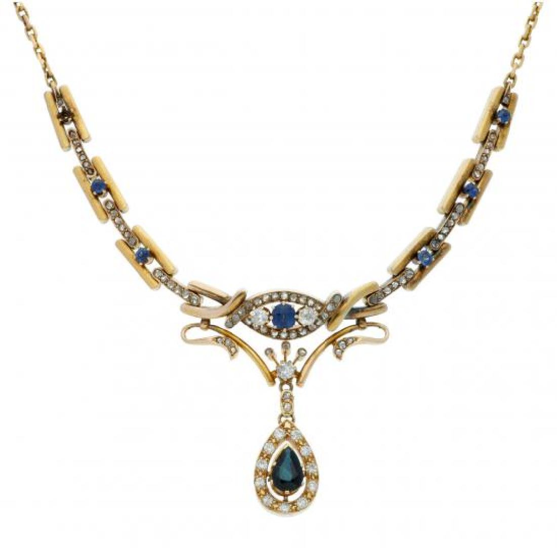 Sapphires and diamonds choker necklace Gold, pear,