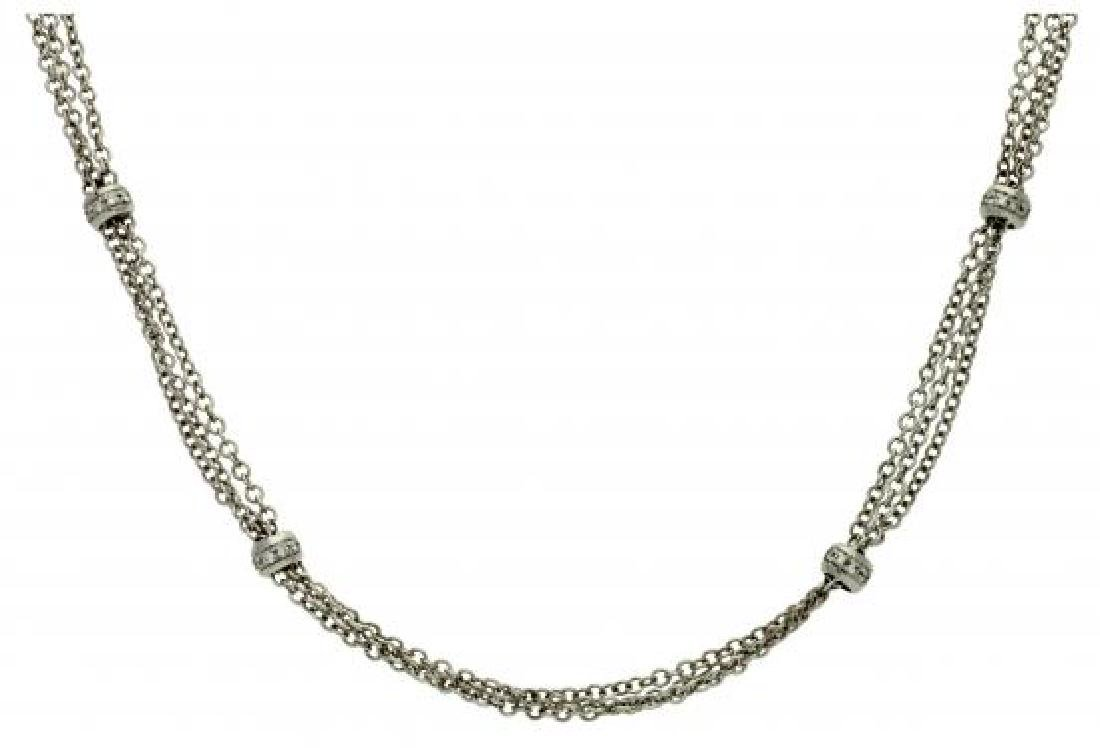 Diamonds choker necklace Triple chain and beads in