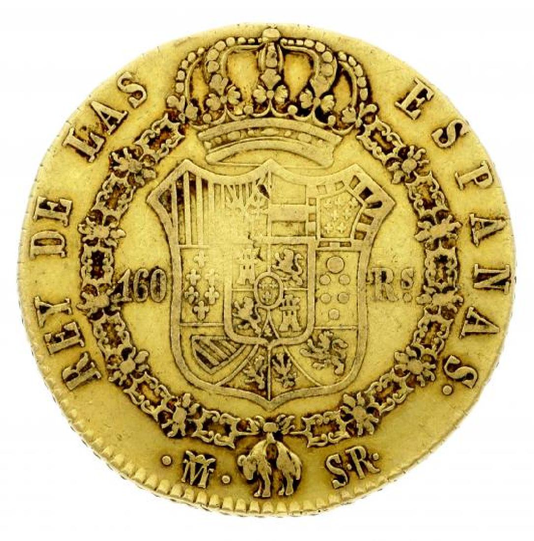 Spanish gold coin 160 Reales, Ferdinand VII, Madrid,