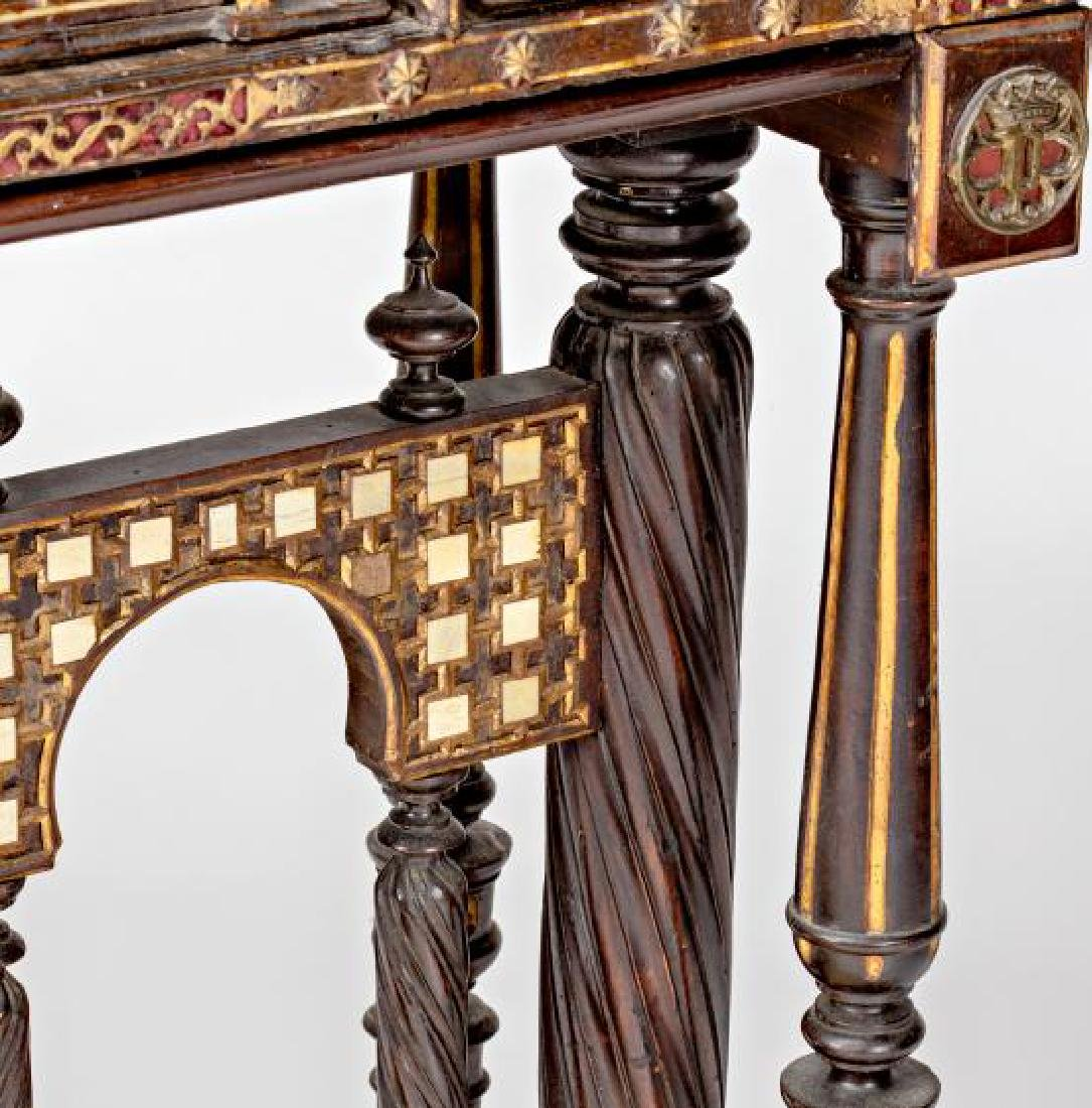 Spanish desk in carved walnut and bone, second half of - 7