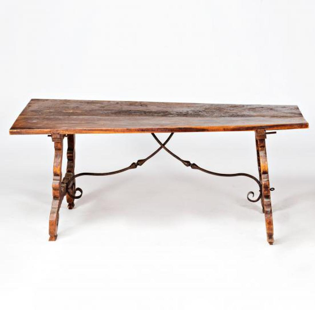 Spanish table with lyre legs in walnut, second half of - 2
