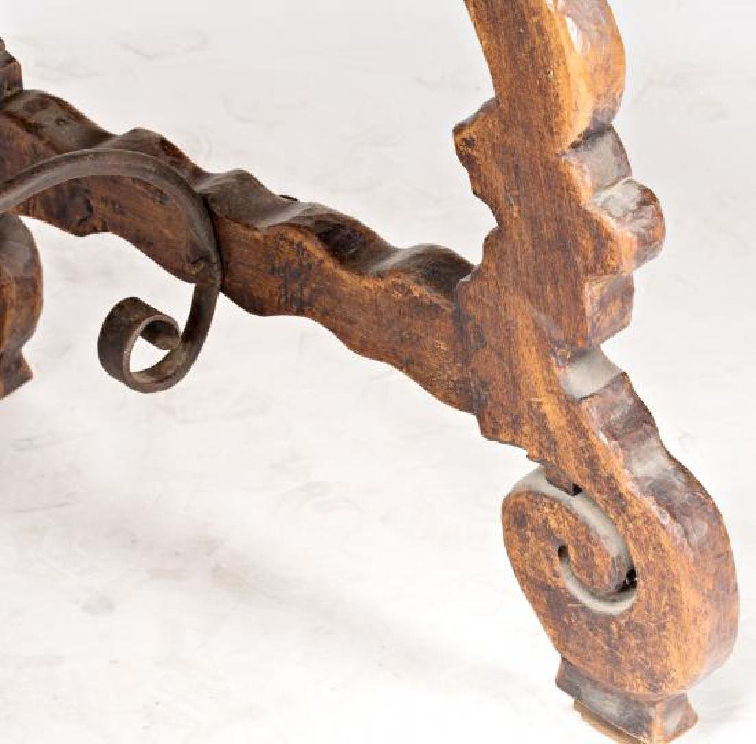 Spanish table with lyre legs in walnut, second half of - 4