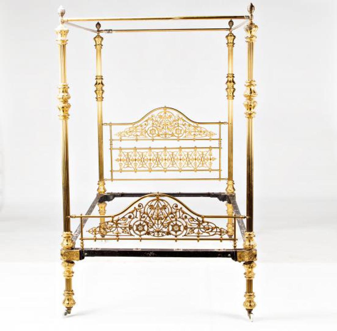 Bed with canopy structure in gilt bronze and brass, - 2