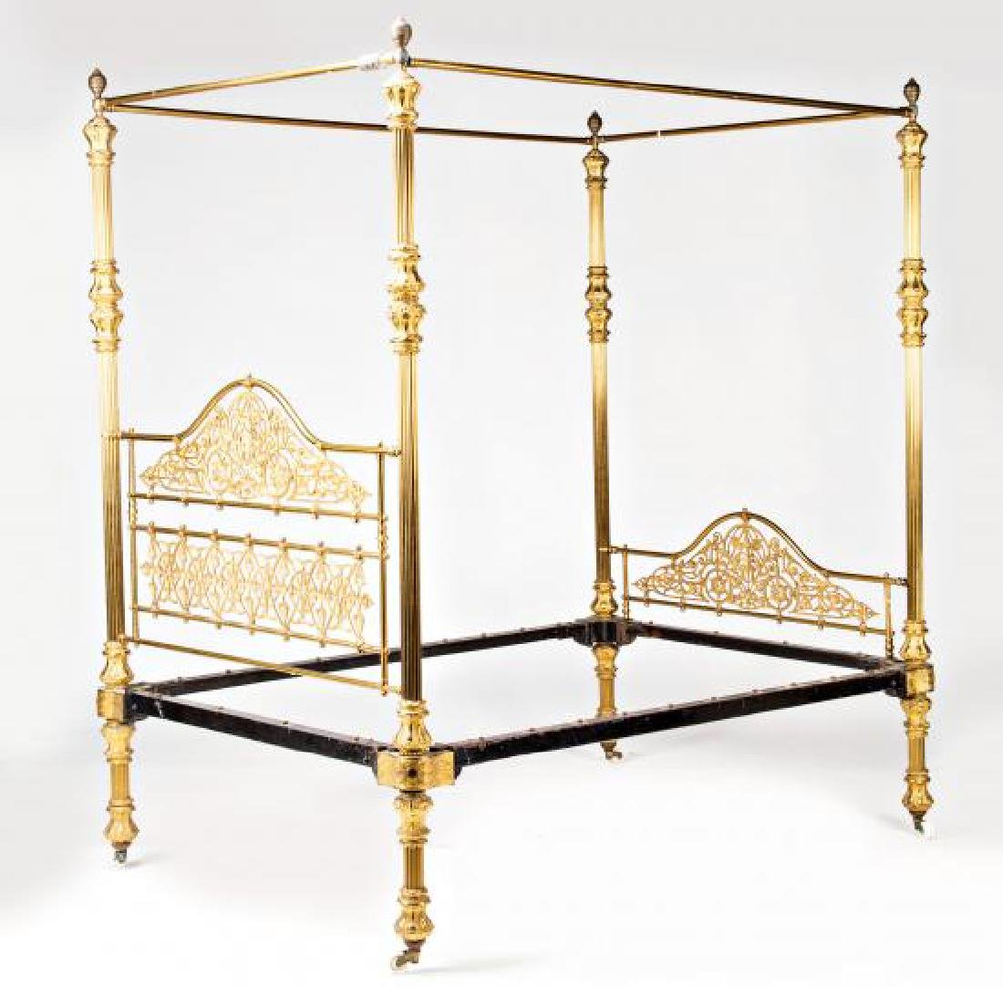 Bed with canopy structure in gilt bronze and brass, - 3