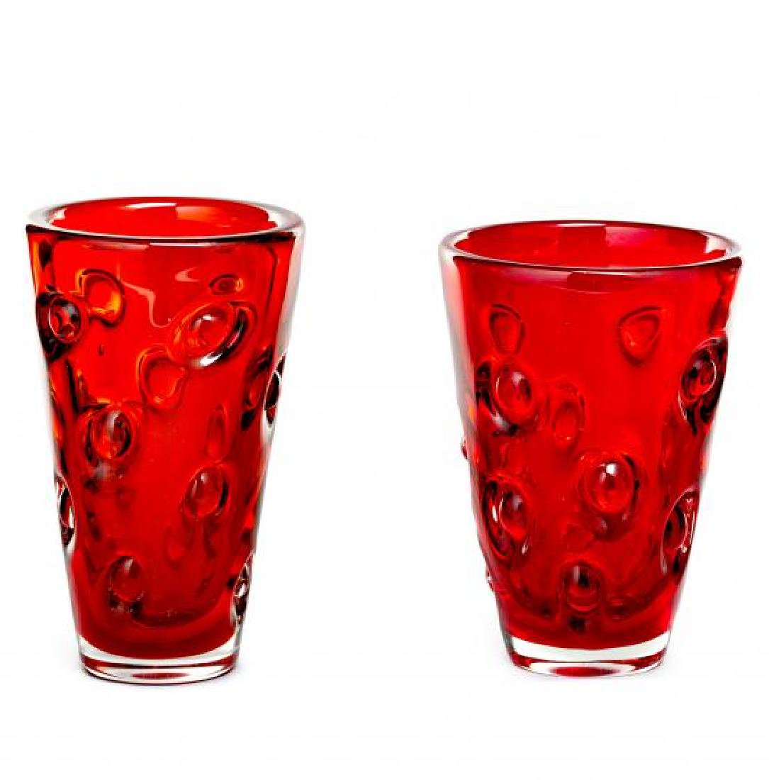 Pair of vases in Murano red glass, circa 1950