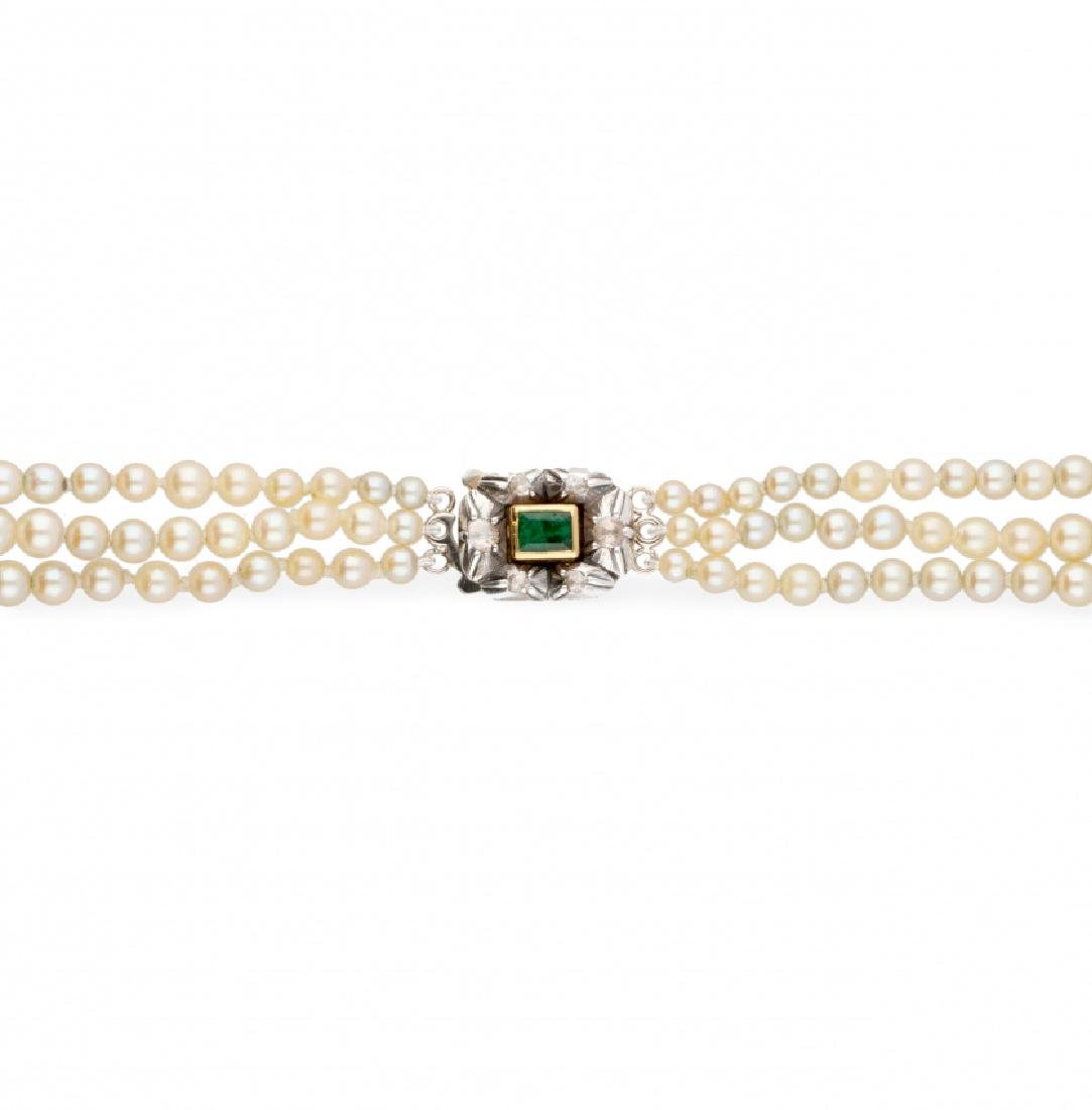 Choker with three rows of pearls, circa 1960