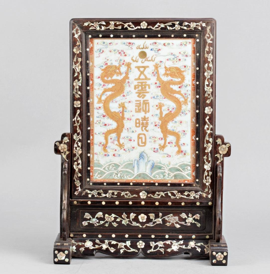 Chinese porcelain panel with dragons with frame in wood