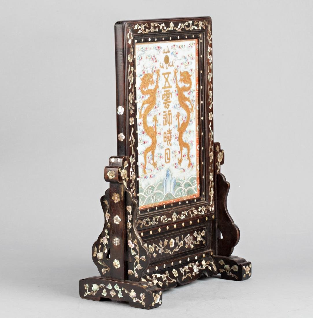 Chinese porcelain panel with dragons with frame in wood - 2