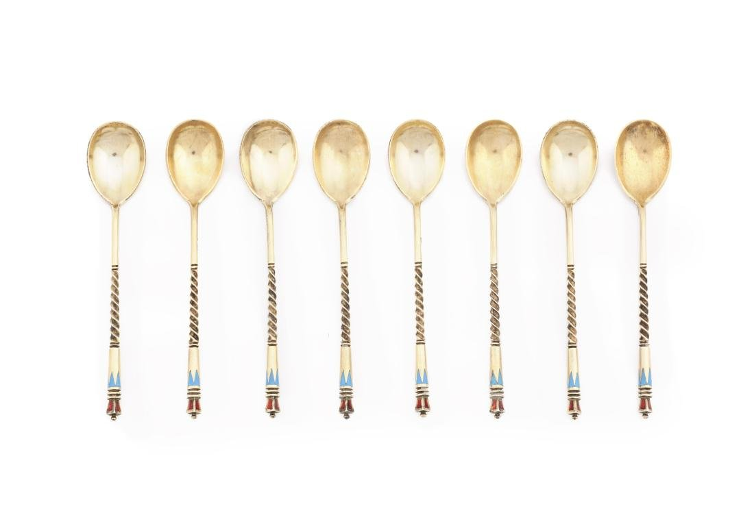 """Eight Russian spoons in """"cloisonné"""" enemelled silver,"""