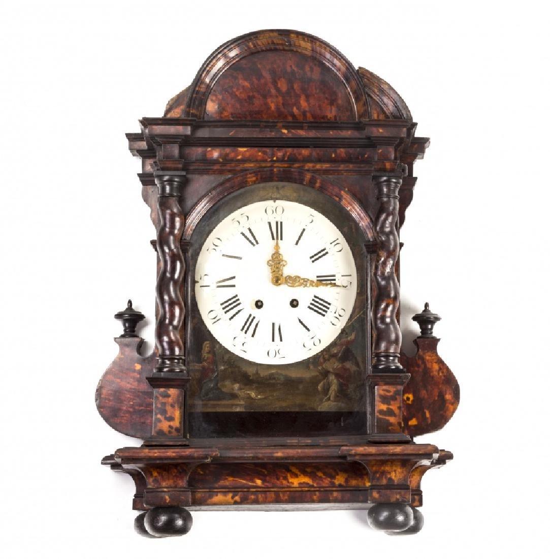 Italian table clock in tortoiseshell with Salomonic