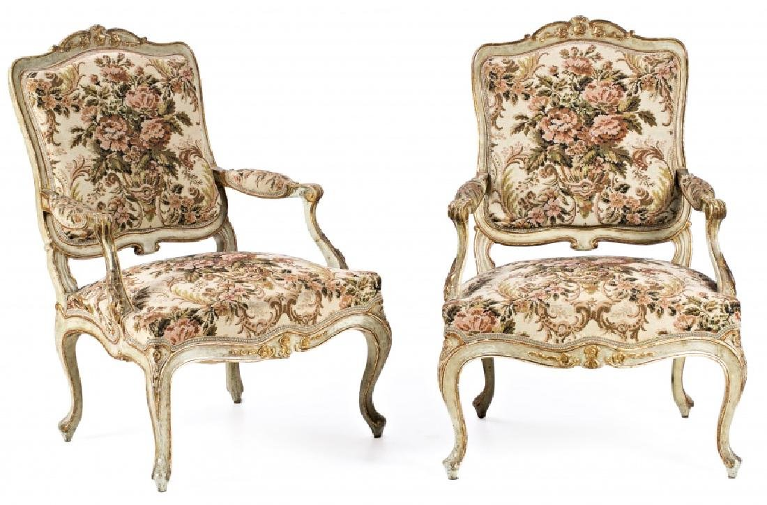 Pair of Charles III armchairs in carved, painted and