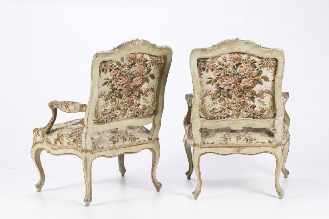 Pair of Charles III armchairs in carved, painted and - 2