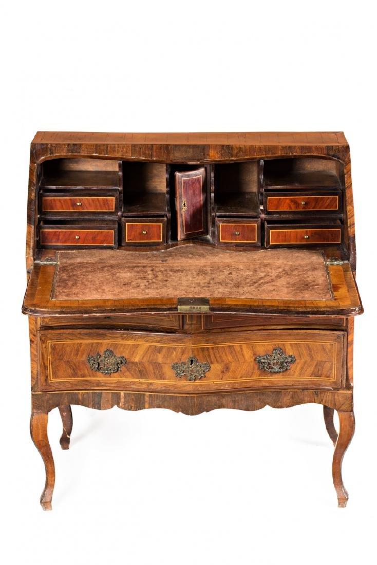 "Louis XV ""en penté"" bureau in rosewood, mahogany and"