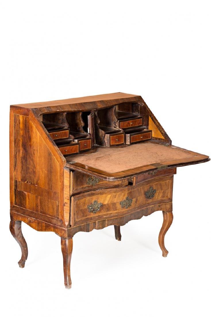 "Louis XV ""en penté"" bureau in rosewood, mahogany and - 2"