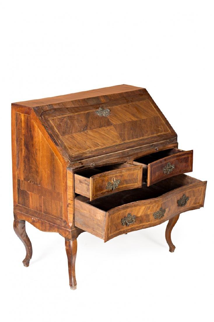 "Louis XV ""en penté"" bureau in rosewood, mahogany and - 3"