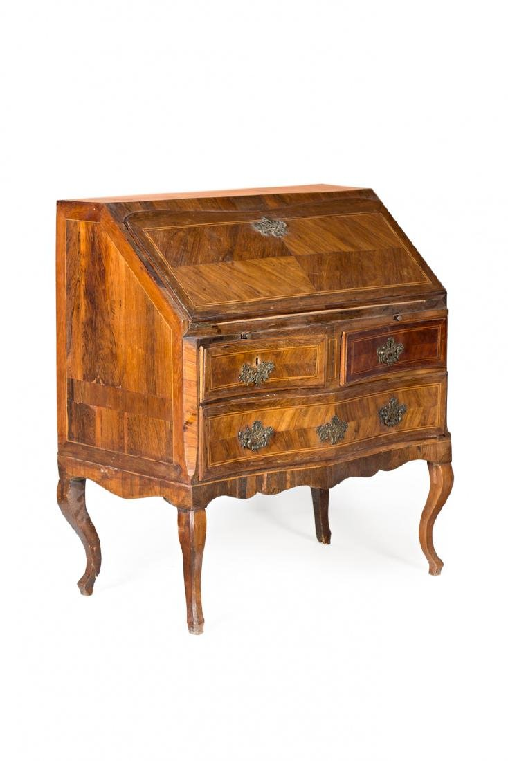 "Louis XV ""en penté"" bureau in rosewood, mahogany and - 4"