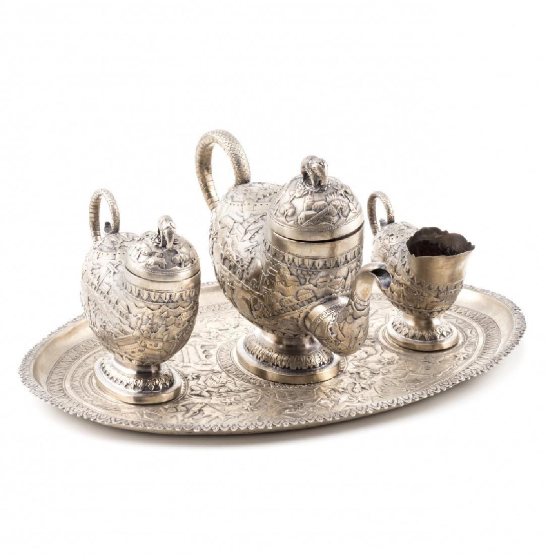 Portuguese Colonial silver coffee set, 19th Century