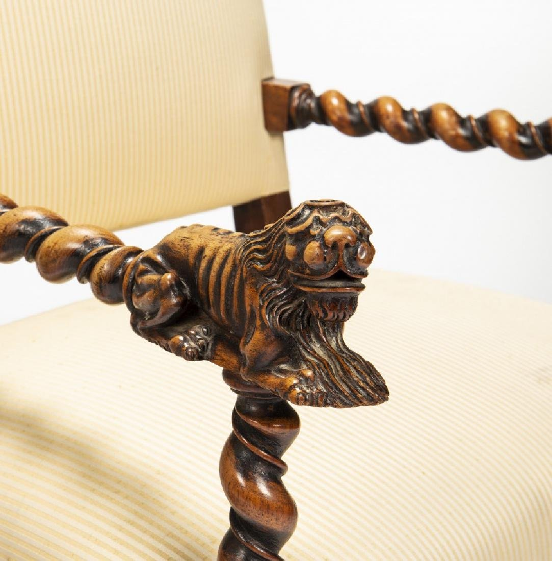 Pair of Louis XIII armchairs in carved and moulded oak, - 2